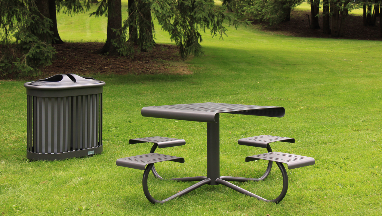 Metal Table with Attached Individual Seating Outside