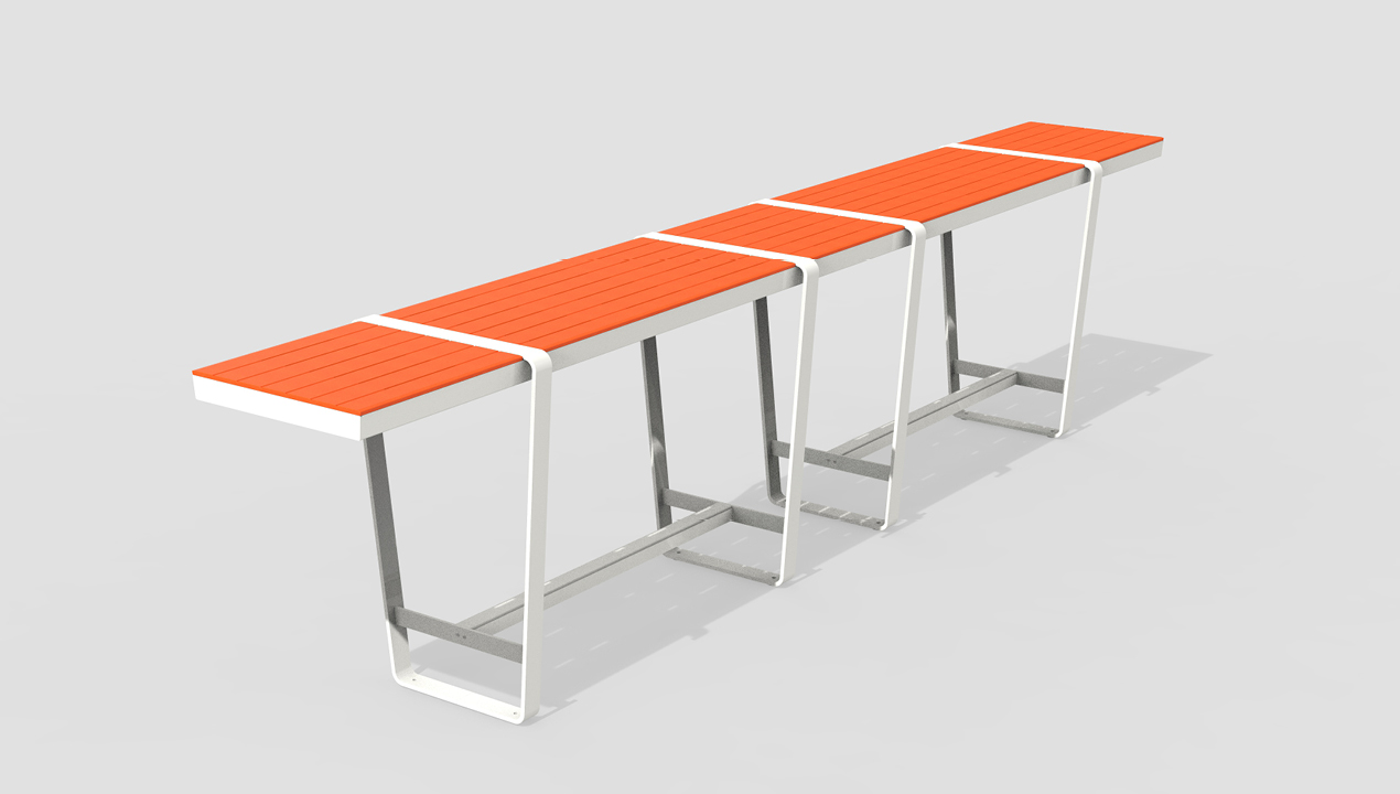Long Bar Height Orange and White Table