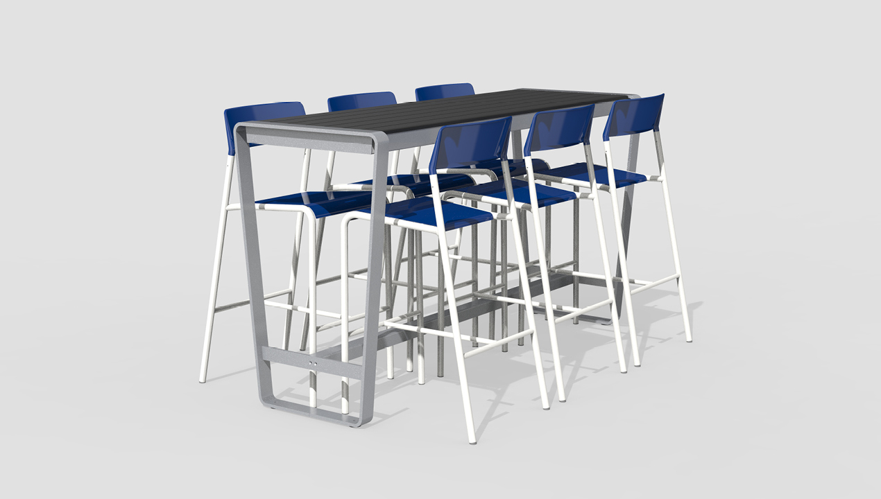 Bar Height Table in Black and Grey with Blue and White Bar Chairs