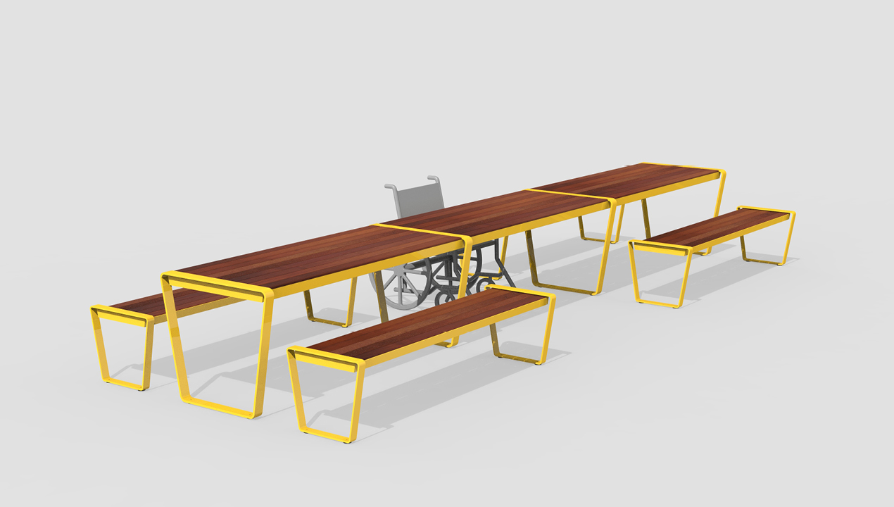 Long Tables with Benches and Wheelchair Seating in Wood and Yellow