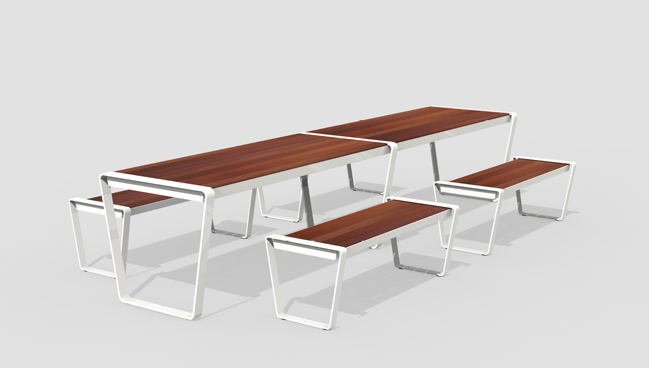 White and Wood Coloured Long Tables with Benches