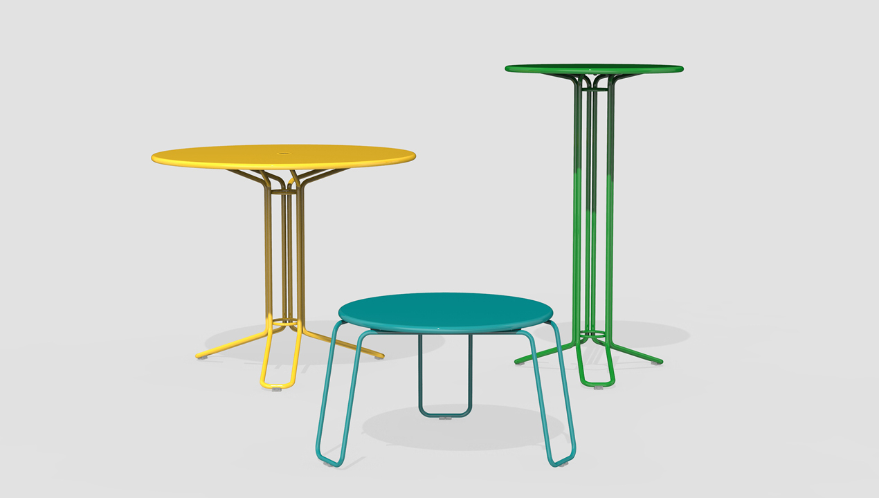 Small Blue Table, Mid sized Yellow Table and Tall Green Table