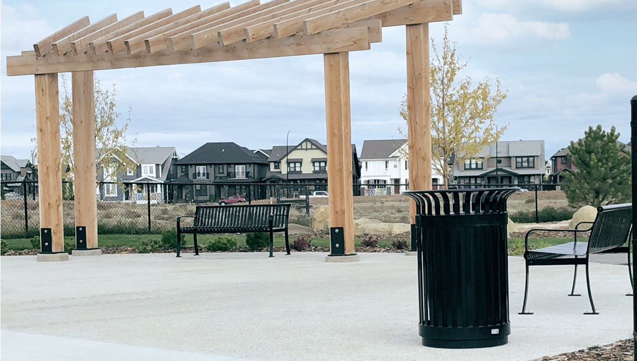 Black Benches and Trash Can Near subdivision