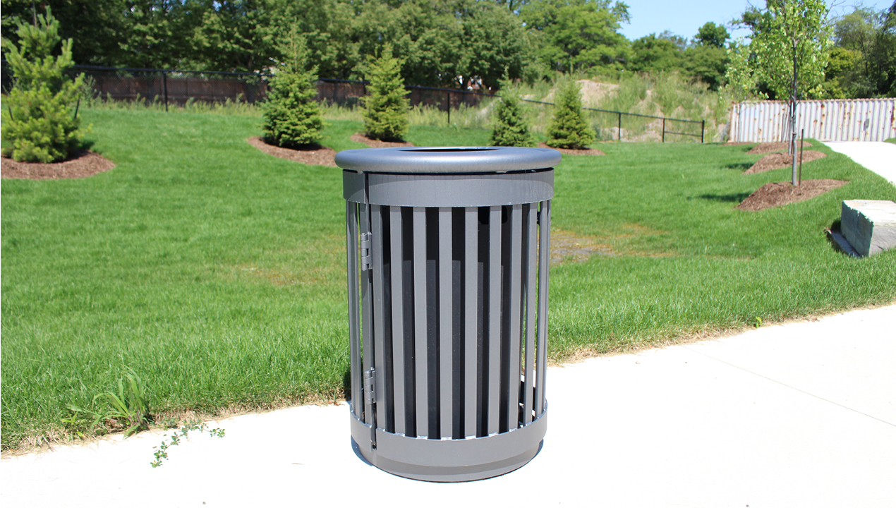 Trash can with Vertical Slats Outside on Path