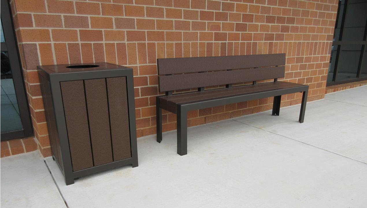 Brown Trash Bin and Bench