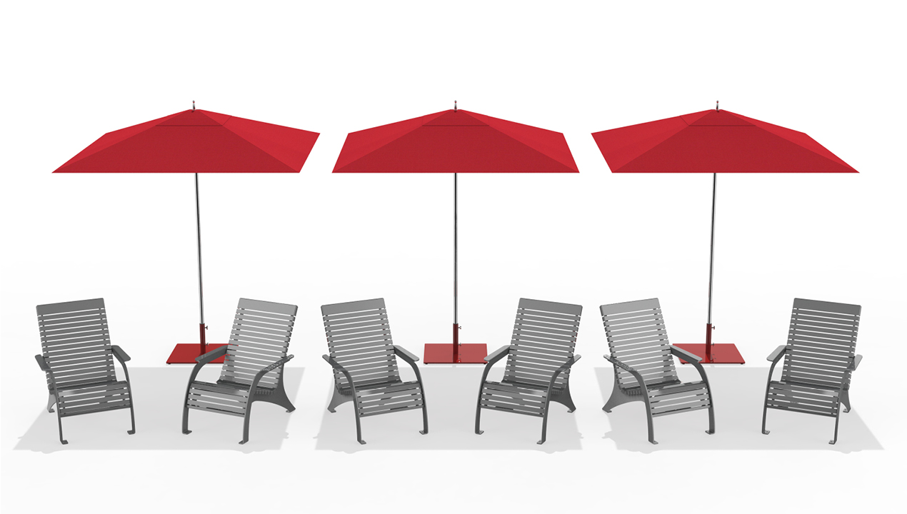 Six Grey Chairs with Red Umbrellas