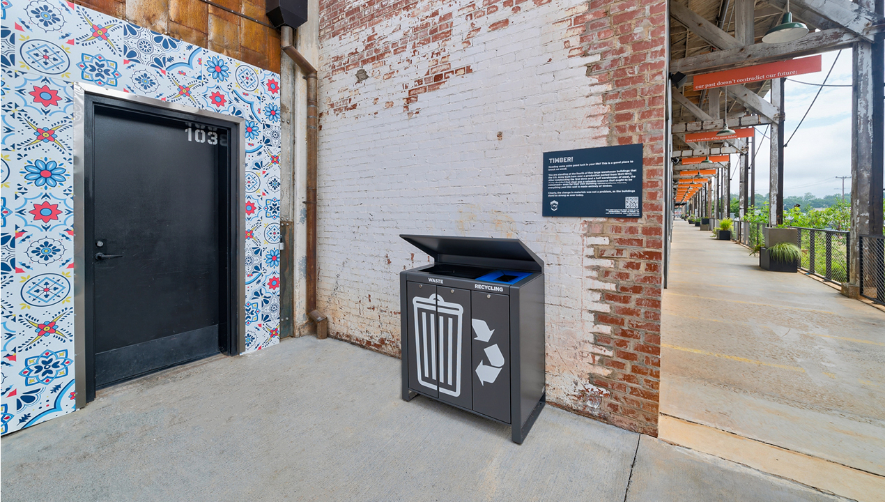 Lexicon trash and recycling unit against rustic brick wall