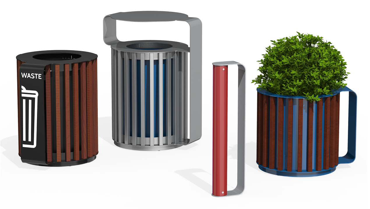 MUG Collection waste/recycle container, bike rack and planter
