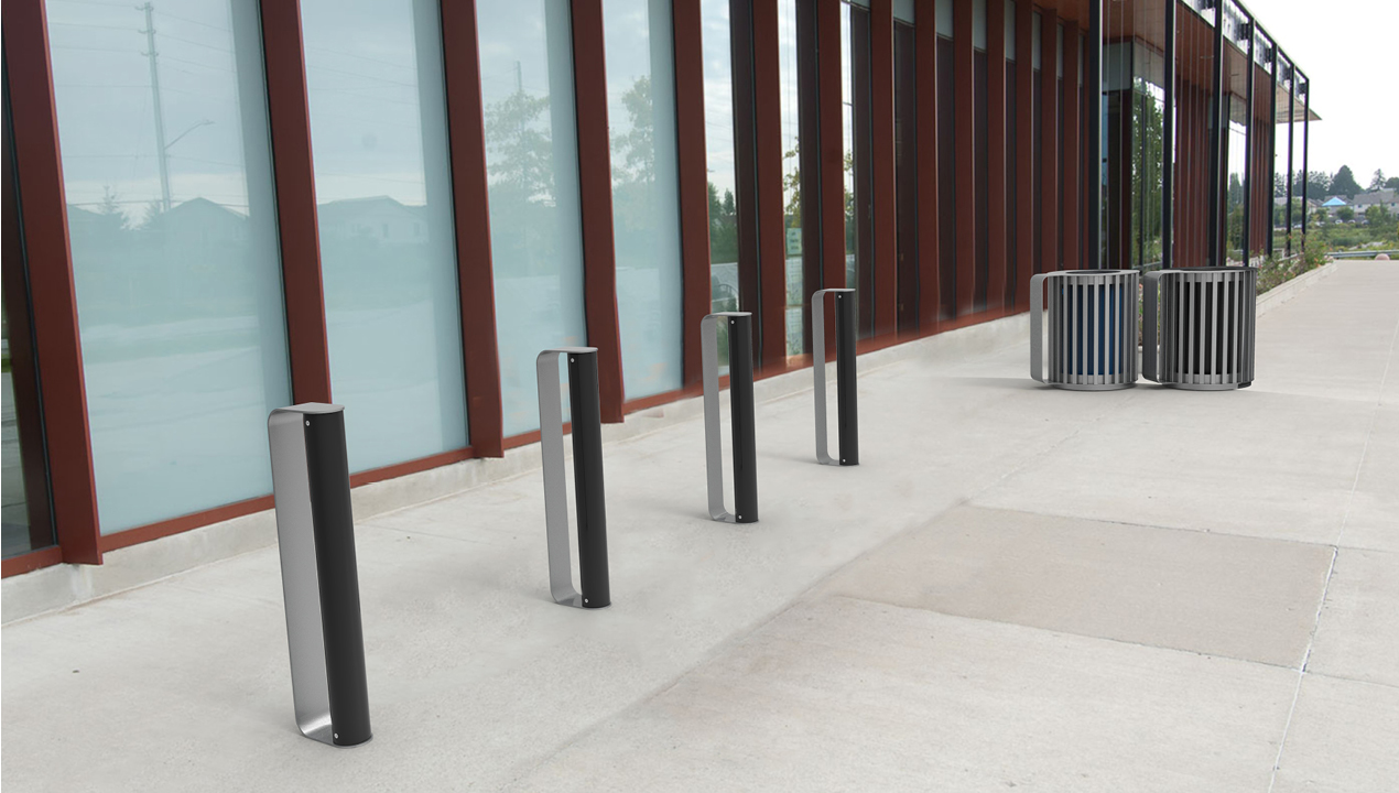 MUG Bike Racks painted gloss black and gunmetal and waste/recycle containers