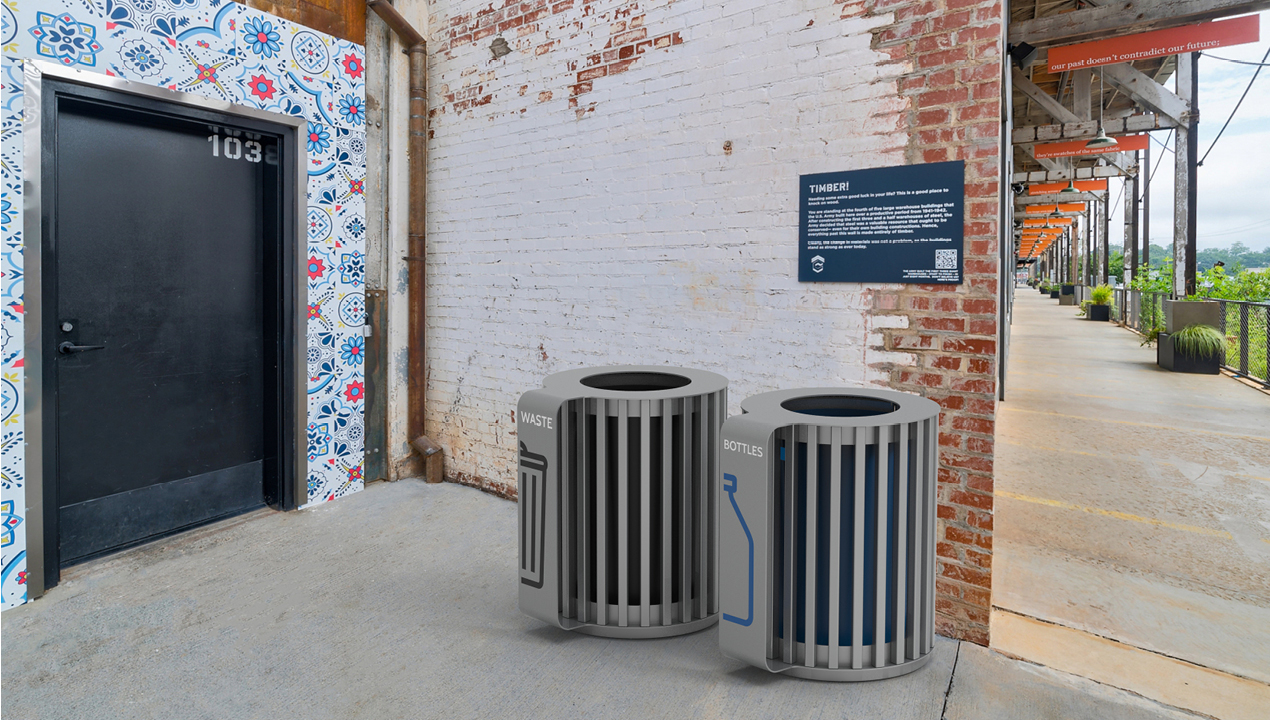 MUG Waste/Recycle Containers with steel slats and vinyl graphics