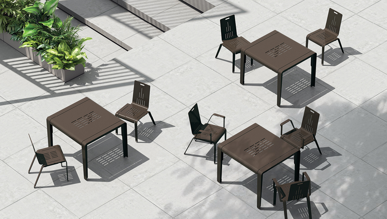 2700 Series - ALUM Dining Tables and Chairs, overhead view on patio