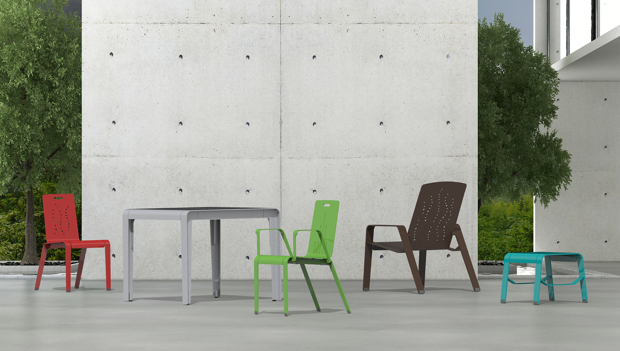 2700 Series - ALUM Collection of tables and chairs against concrete wall