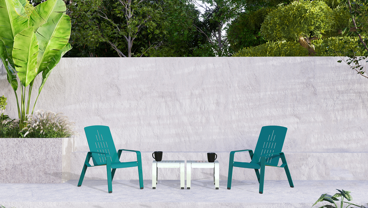 2700 Series - ALUM Lounge Chairs and tables on concrete painted turquoise and white powdercoat