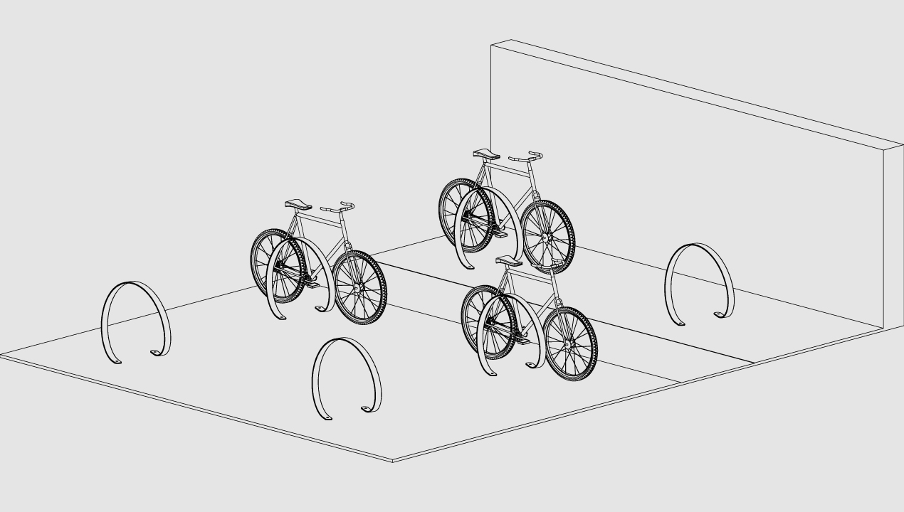 3100 Series - Orbit Stainless Steel Bike Racks placement with bicycles