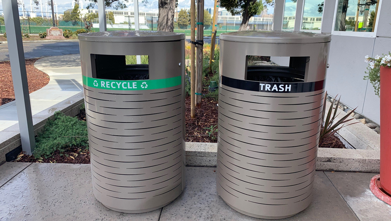600 Series - 650 Recycle/Trash Receptacles painted titanium gloss with labels