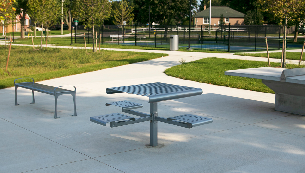 MTB-0400-00002: 400 Series Cluster Seating, Backless Metal Seats, Wheelchair Accessible, Direct Burial, park setting