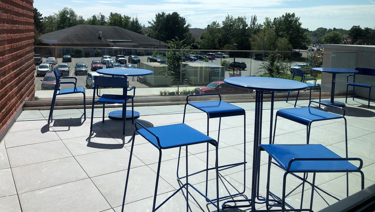 Bar Height Kontur Tables and Stools with Foro Tables and Chairs in blue powdercoat
