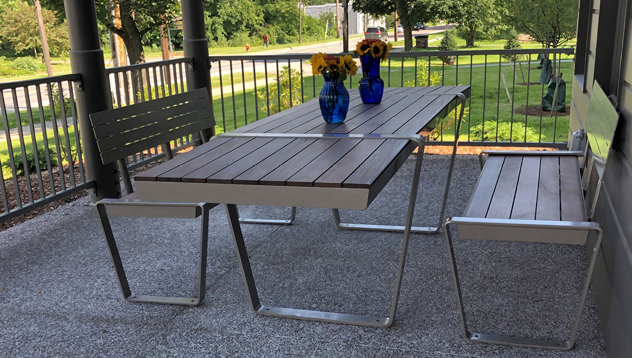 Lexicon Table with 2 FT side extensions and Backed Benches