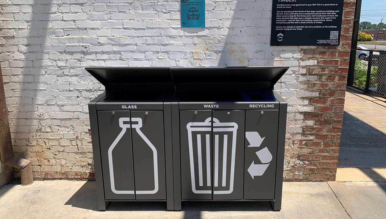 Lexicon Waste and Recycling unit with rain shields and vinyl graphics